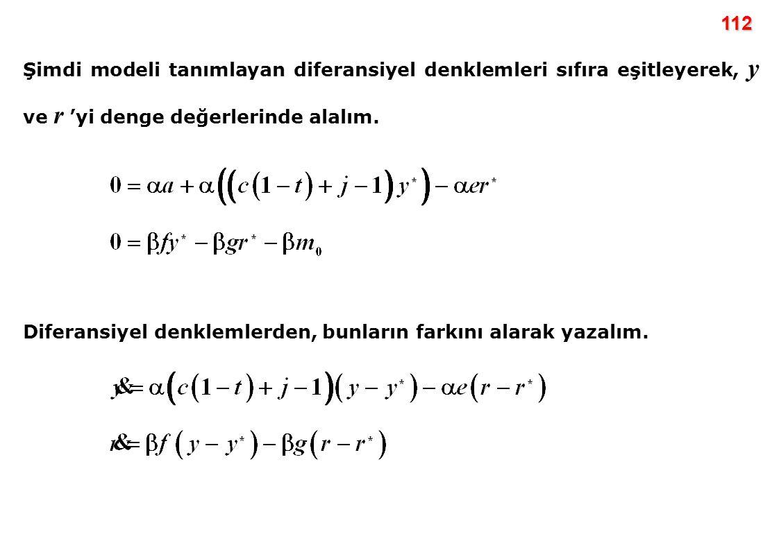 112 Şimdi modeli tanımlayan diferansiyel denklemleri sıfıra eşitleyerek, y ve r 'yi denge değerlerinde alalım.