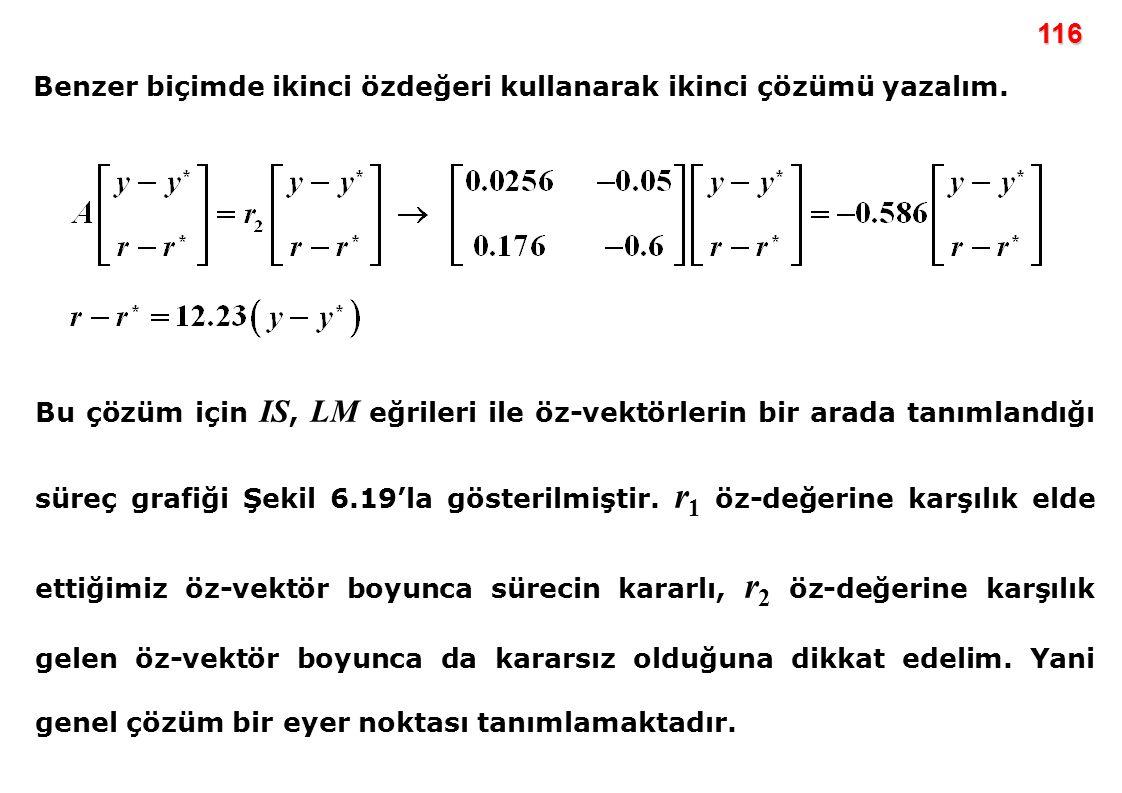 116 Benzer biçimde ikinci özdeğeri kullanarak ikinci çözümü yazalım.