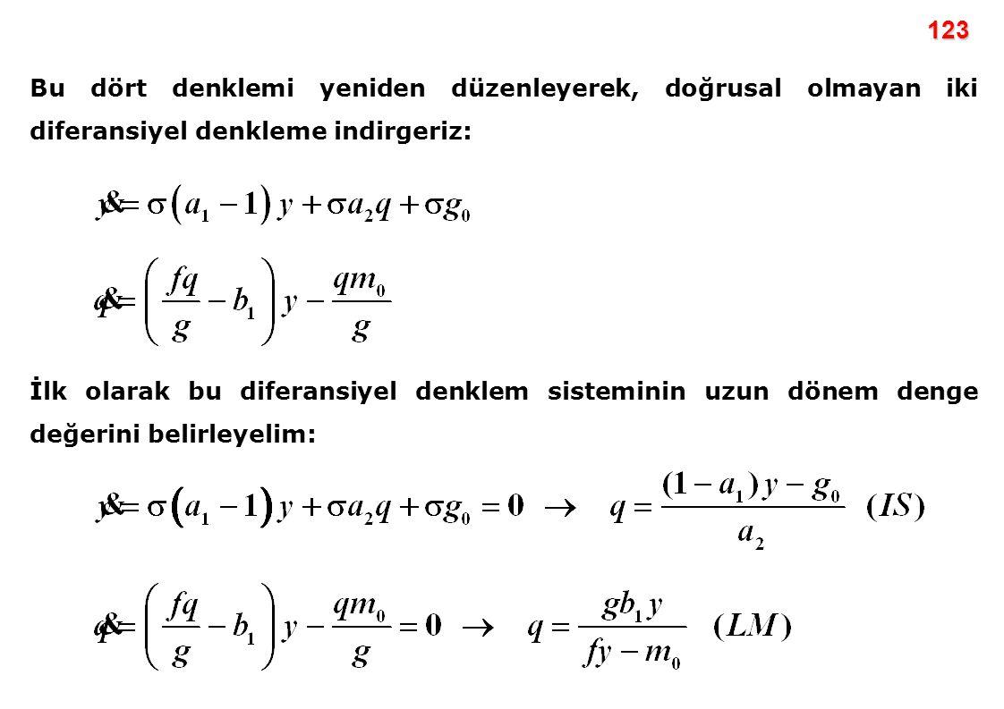 123 Bu dört denklemi yeniden düzenleyerek, doğrusal olmayan iki diferansiyel denkleme indirgeriz: