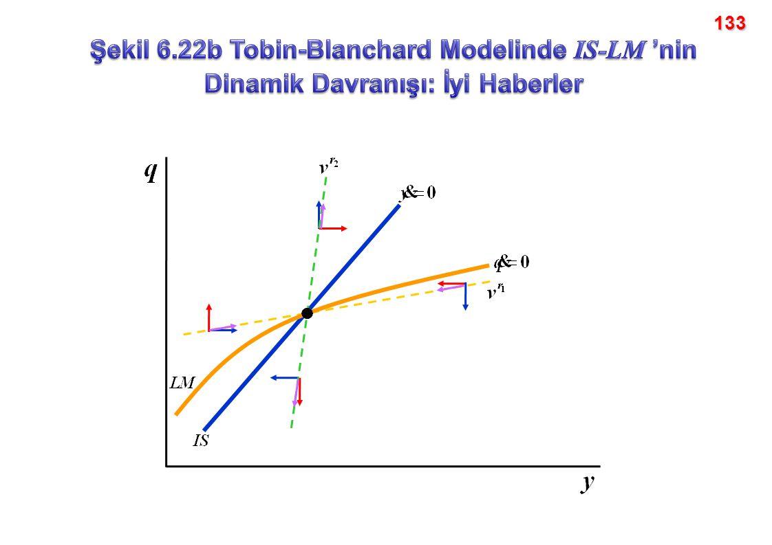 133 Şekil 6.22b Tobin-Blanchard Modelinde IS-LM 'nin Dinamik Davranışı: İyi Haberler