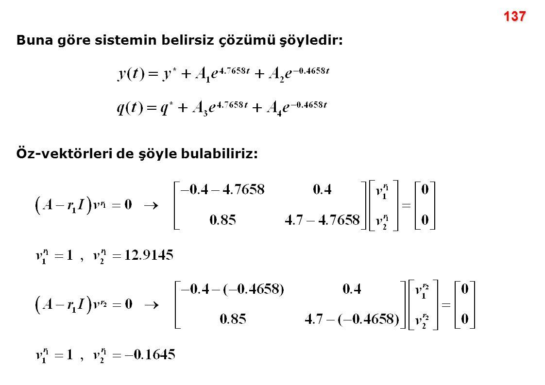 137 Buna göre sistemin belirsiz çözümü şöyledir: