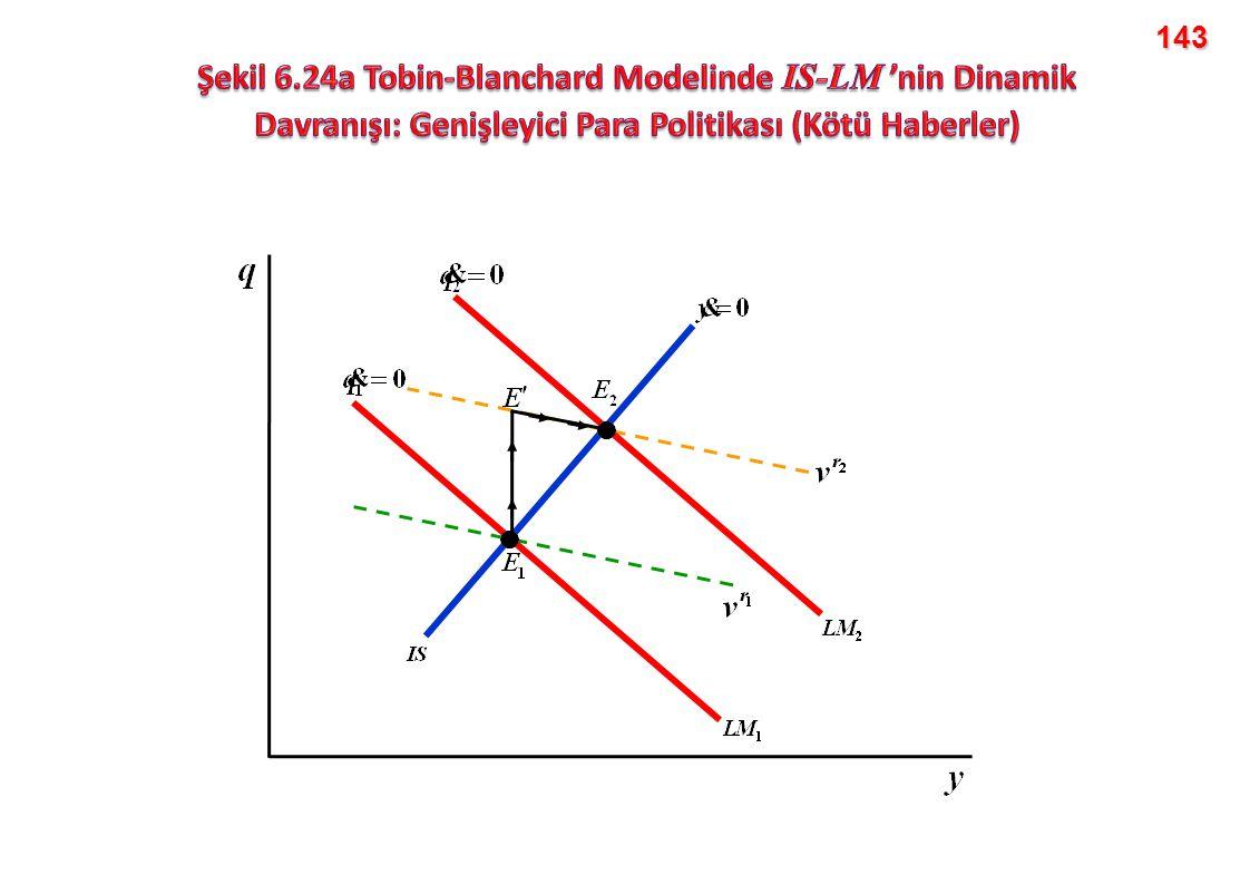 143 Şekil 6.24a Tobin-Blanchard Modelinde IS-LM 'nin Dinamik Davranışı: Genişleyici Para Politikası (Kötü Haberler)