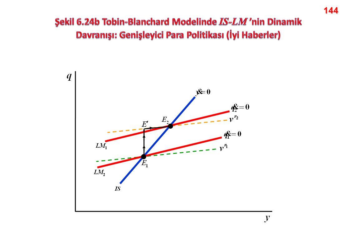 144 Şekil 6.24b Tobin-Blanchard Modelinde IS-LM 'nin Dinamik Davranışı: Genişleyici Para Politikası (İyi Haberler)
