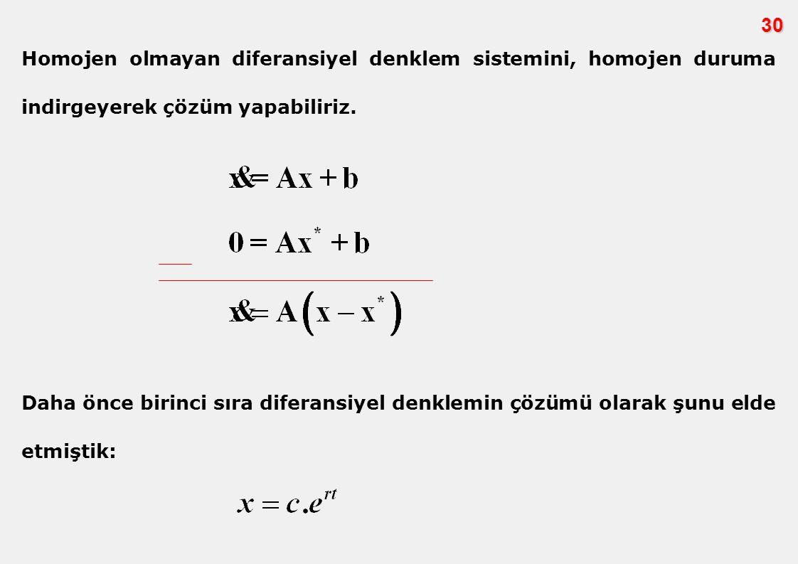 30 Homojen olmayan diferansiyel denklem sistemini, homojen duruma indirgeyerek çözüm yapabiliriz.