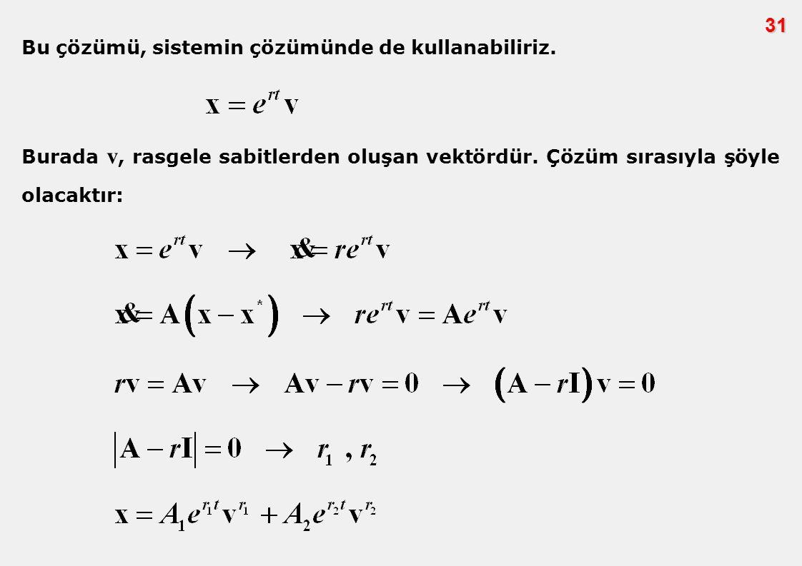 31 Bu çözümü, sistemin çözümünde de kullanabiliriz.