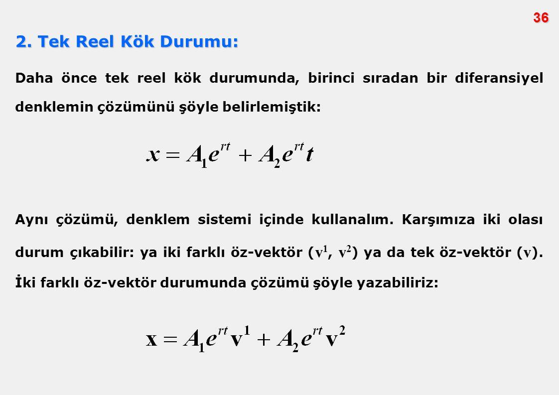 36 2. Tek Reel Kök Durumu: Daha önce tek reel kök durumunda, birinci sıradan bir diferansiyel denklemin çözümünü şöyle belirlemiştik: