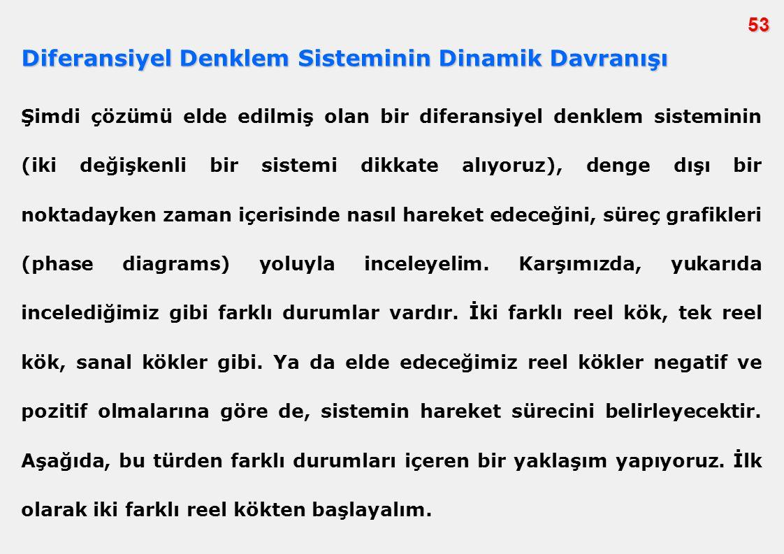 Diferansiyel Denklem Sisteminin Dinamik Davranışı