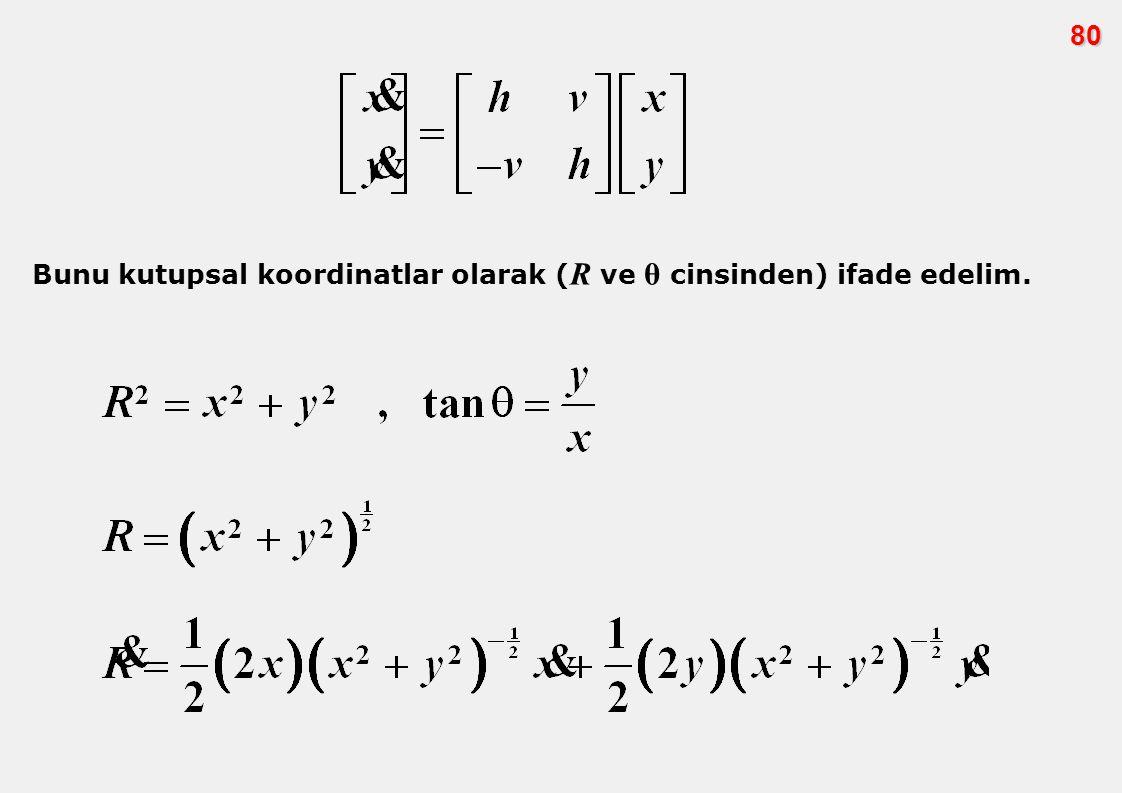80 Bunu kutupsal koordinatlar olarak (R ve θ cinsinden) ifade edelim.