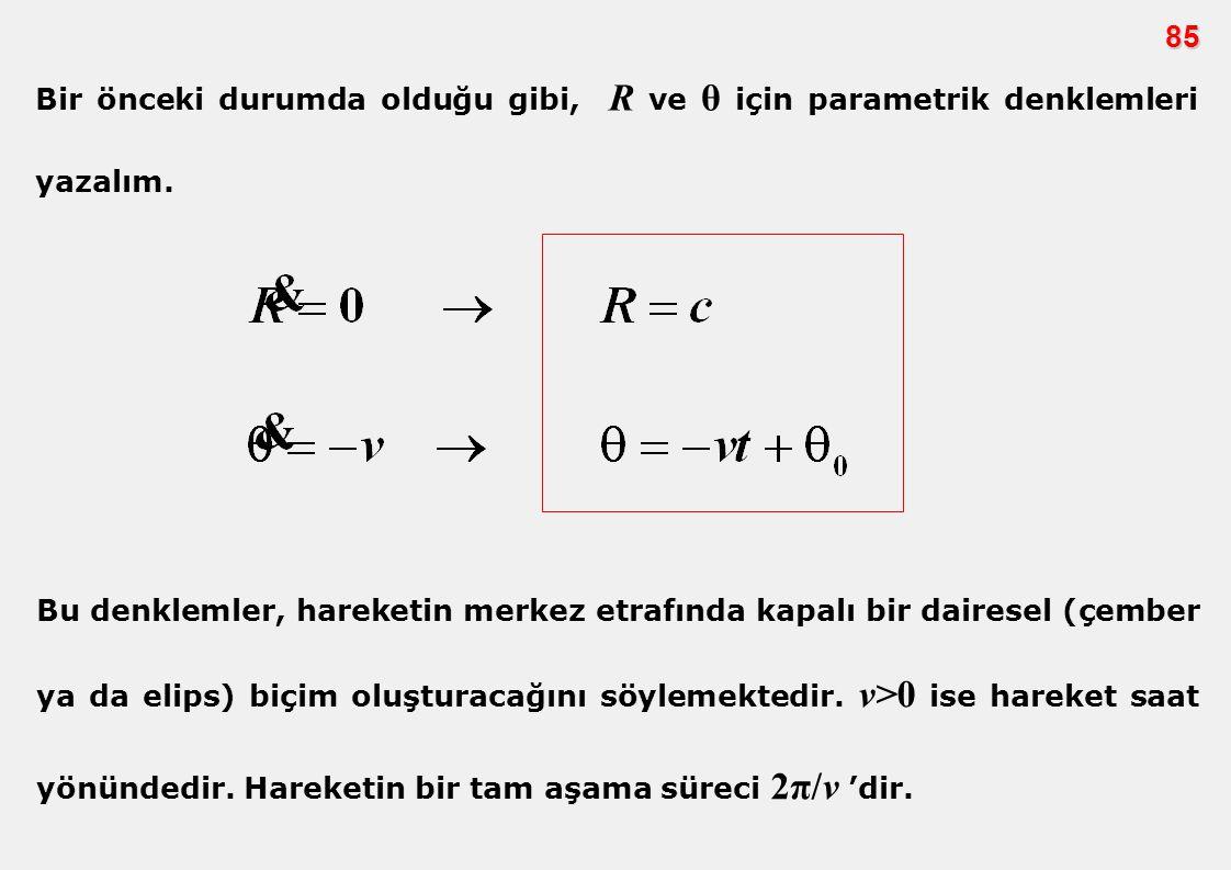 85 Bir önceki durumda olduğu gibi, R ve θ için parametrik denklemleri yazalım.