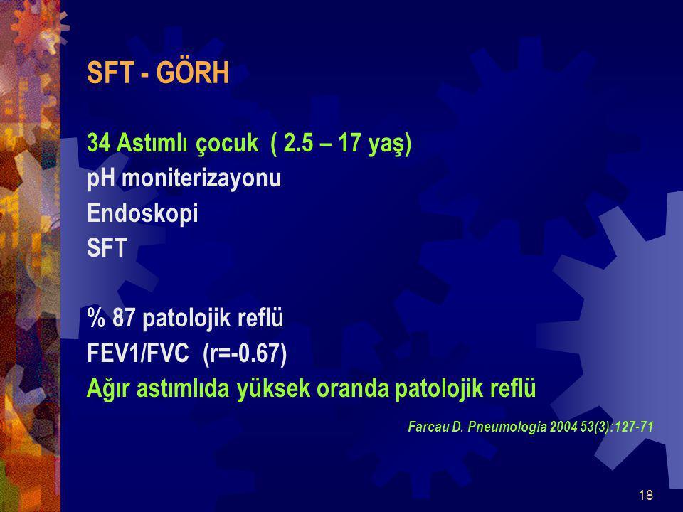 SFT - GÖRH 34 Astımlı çocuk ( 2.5 – 17 yaş) pH moniterizayonu