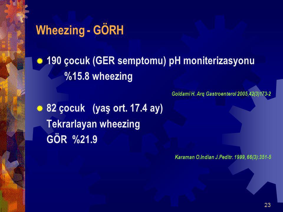 Wheezing - GÖRH 190 çocuk (GER semptomu) pH moniterizasyonu