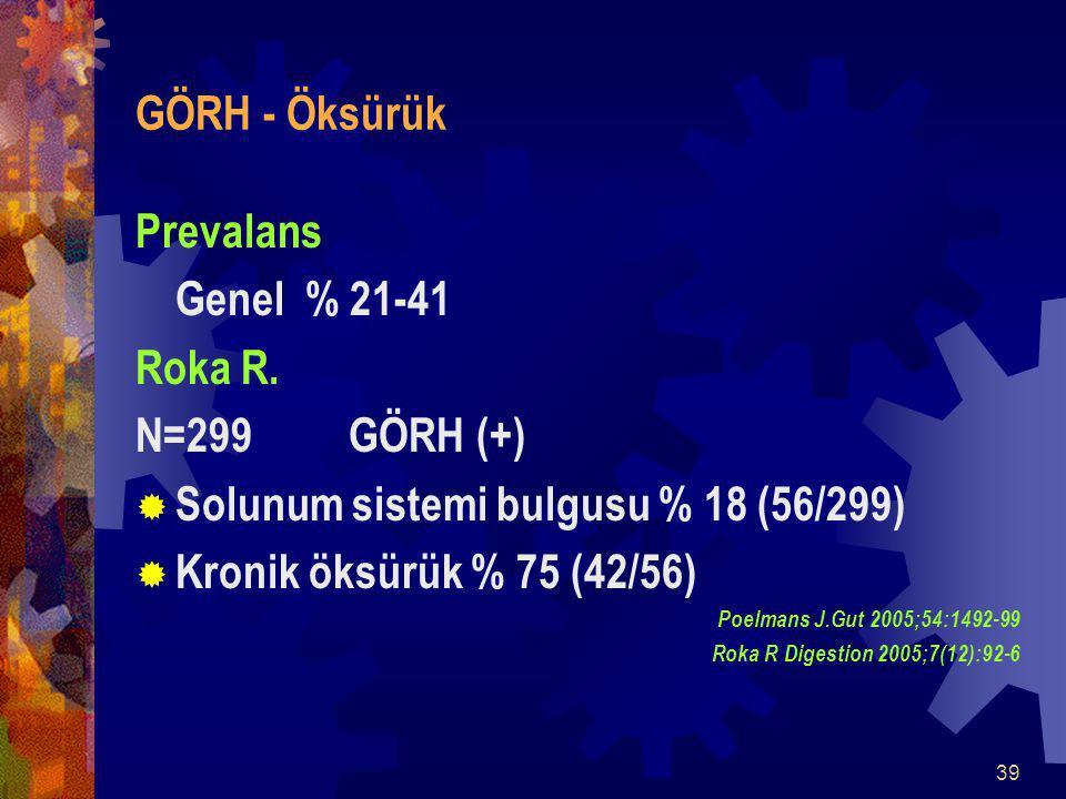Solunum sistemi bulgusu % 18 (56/299) Kronik öksürük % 75 (42/56)
