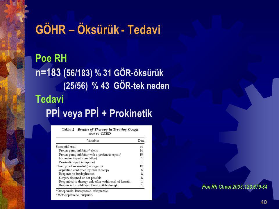 GÖHR – Öksürük - Tedavi Poe RH n=183 (56/183) % 31 GÖR-öksürük Tedavi
