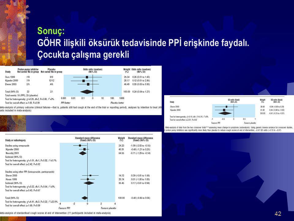 Sonuç: GÖHR ilişkili öksürük tedavisinde PPİ erişkinde faydalı