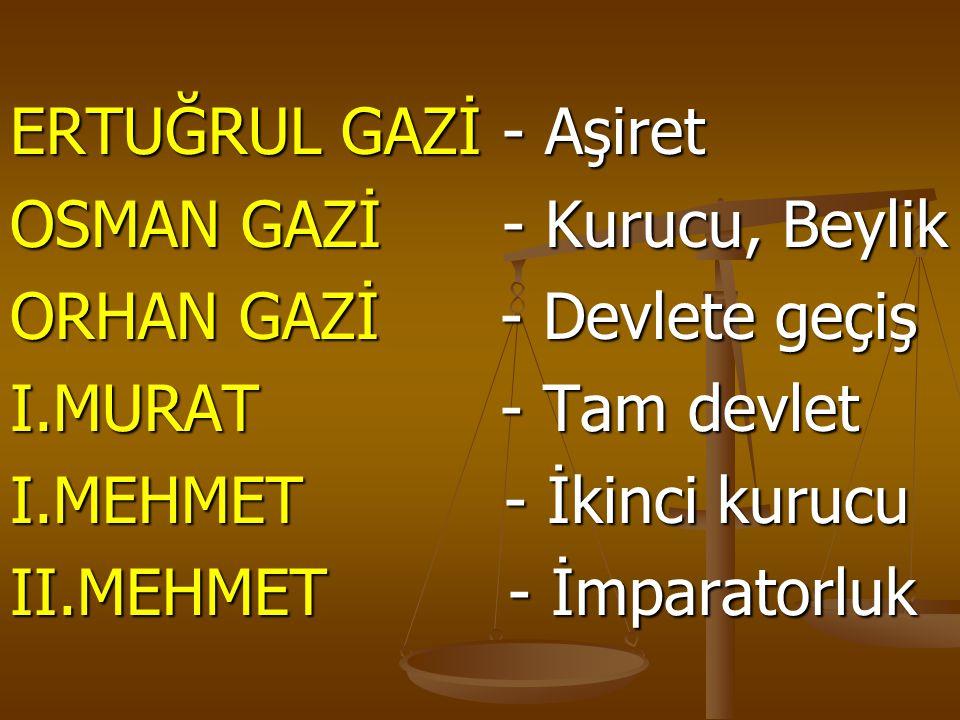ERTUĞRUL GAZİ - Aşiret OSMAN GAZİ - Kurucu, Beylik. ORHAN GAZİ - Devlete geçiş. I.MURAT - Tam devlet.