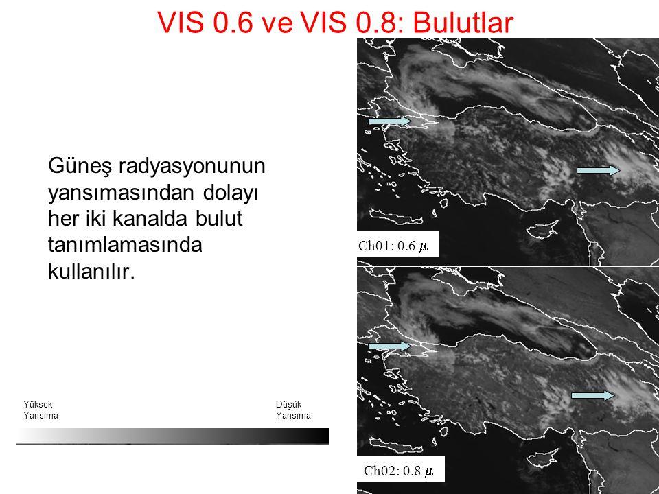 VIS 0.6 ve VIS 0.8: Bulutlar Güneş radyasyonunun yansımasından dolayı her iki kanalda bulut tanımlamasında kullanılır.