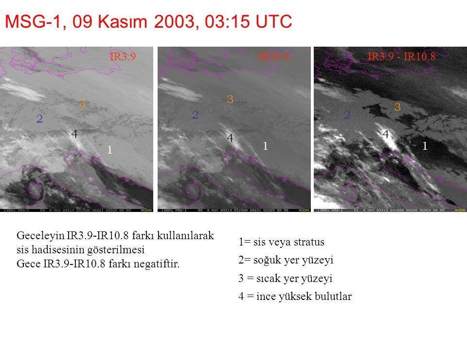 MSG-1, 09 Kasım 2003, 03:15 UTC IR3.9 IR10.8 IR3.9 - IR10.8 3 3 3 2 2
