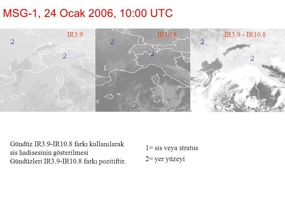 MSG-1, 24 Ocak 2006, 10:00 UTC IR3.9 IR10.8 IR3.9 - IR10.8 1 2 2 2 1 1