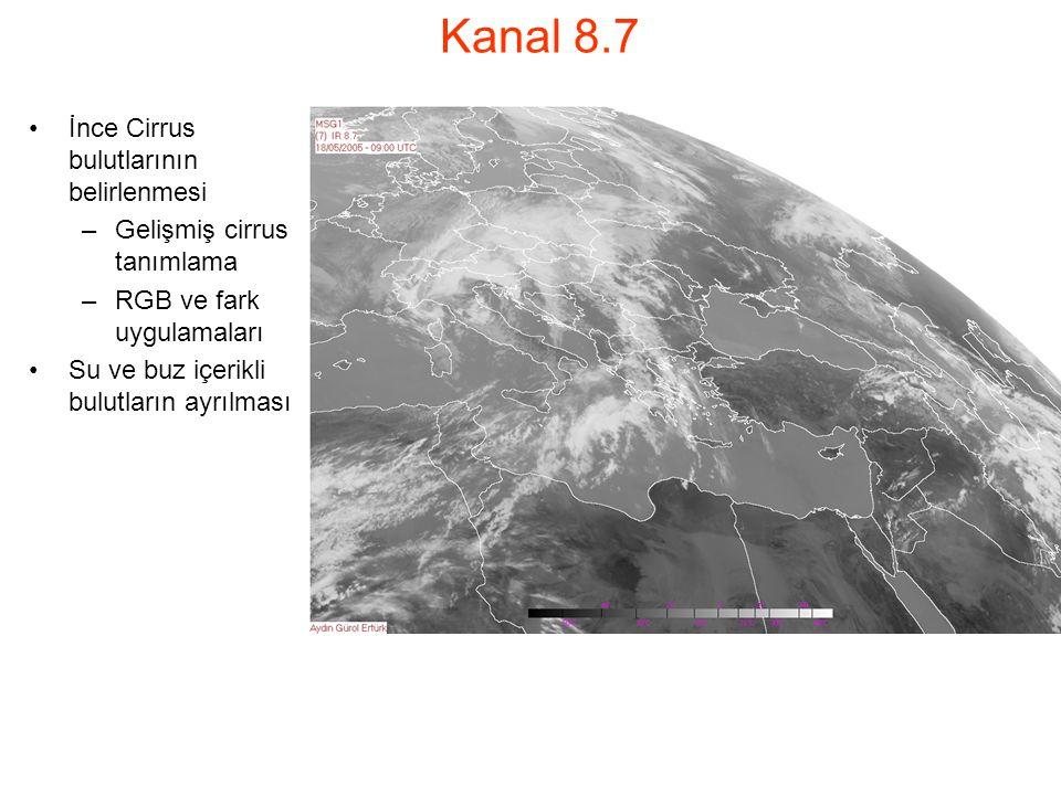 Kanal 8.7 İnce Cirrus bulutlarının belirlenmesi