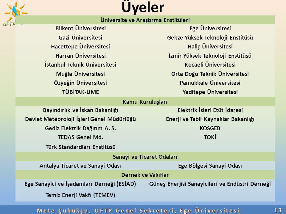 Üyeler Üniversite ve Araştırma Enstitüleri Bilkent Üniversitesi