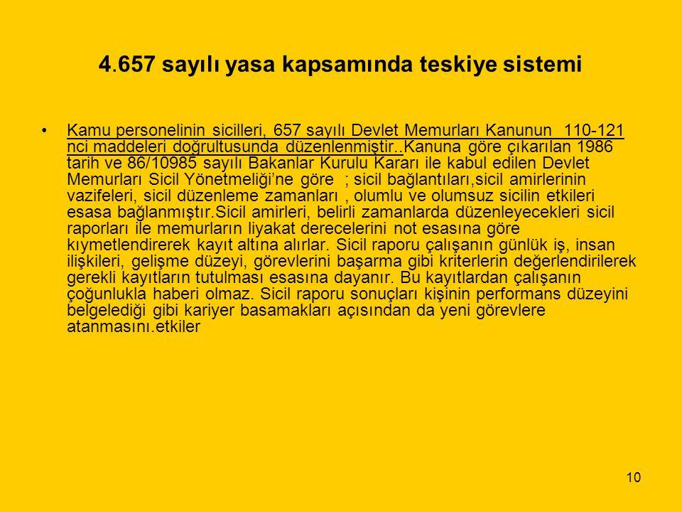 4.657 sayılı yasa kapsamında teskiye sistemi