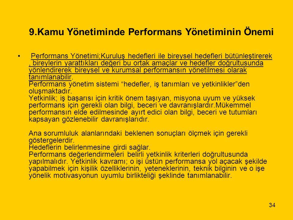 9.Kamu Yönetiminde Performans Yönetiminin Önemi