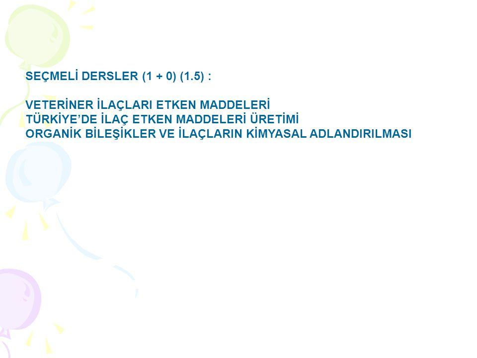 SEÇMELİ DERSLER (1 + 0) (1.5) :