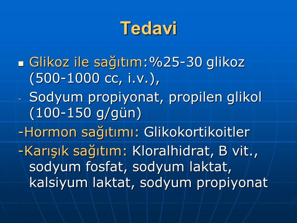 Tedavi Glikoz ile sağıtım:%25-30 glikoz (500-1000 cc, i.v.),