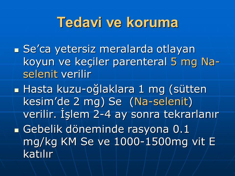 Tedavi ve koruma Se'ca yetersiz meralarda otlayan koyun ve keçiler parenteral 5 mg Na-selenit verilir.