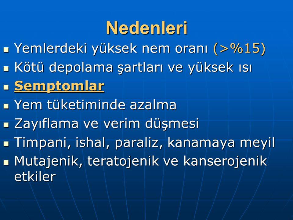 Nedenleri Yemlerdeki yüksek nem oranı (>%15)