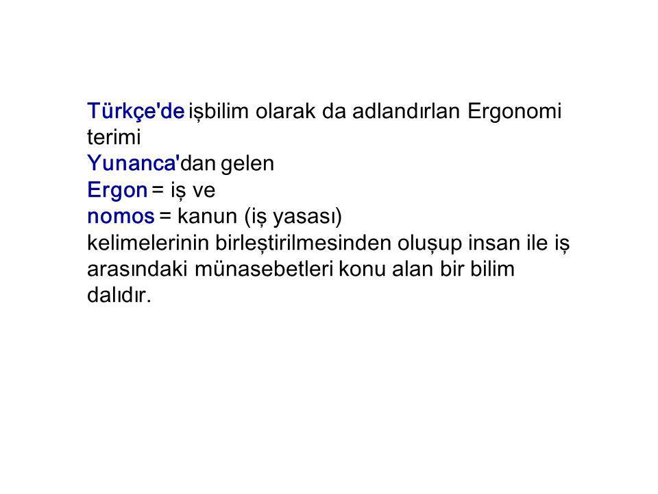 Türkçe de işbilim olarak da adlandırlan Ergonomi terimi