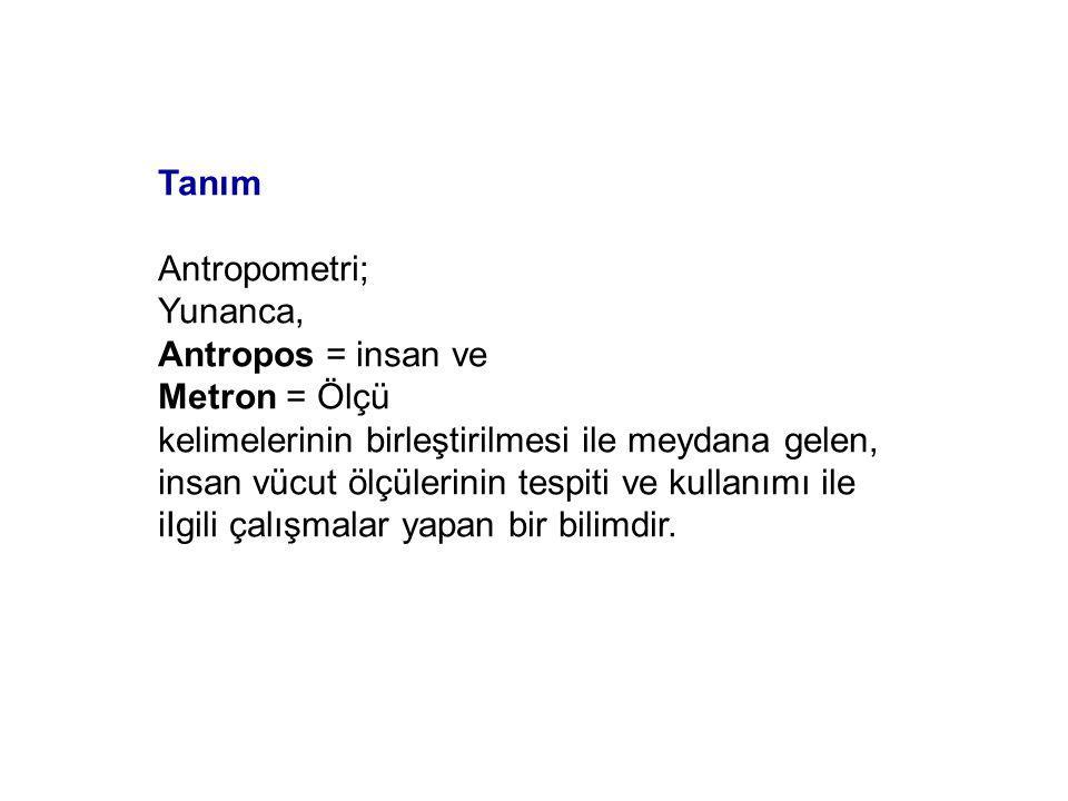 Tanım Antropometri; Yunanca, Antropos = insan ve. Metron = Ölçü.