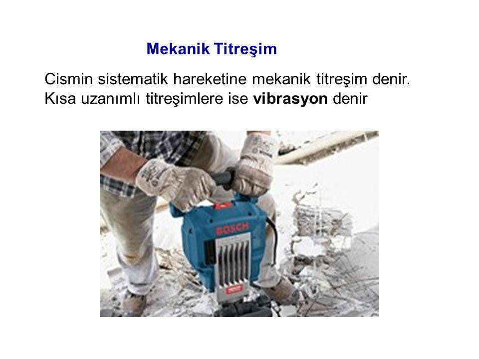 Mekanik Titreşim Cismin sistematik hareketine mekanik titreşim denir.