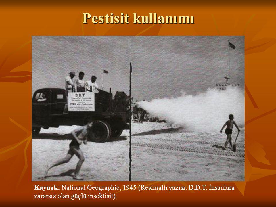Pestisit kullanımı Kaynak: National Geographic, 1945 (Resimaltı yazısı: D.D.T.