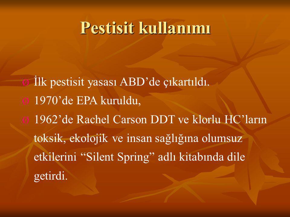 Pestisit kullanımı İlk pestisit yasası ABD'de çıkartıldı.