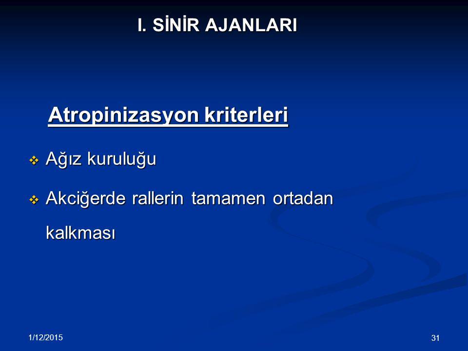 Atropinizasyon kriterleri Ağız kuruluğu