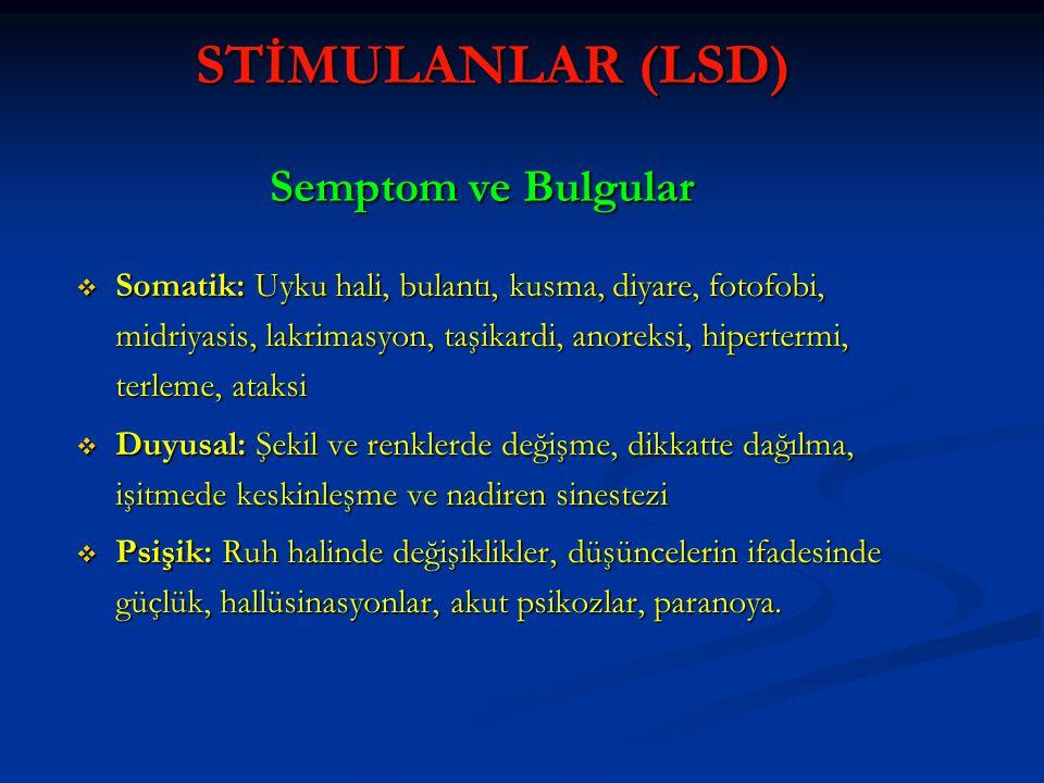 STİMULANLAR (LSD) Semptom ve Bulgular