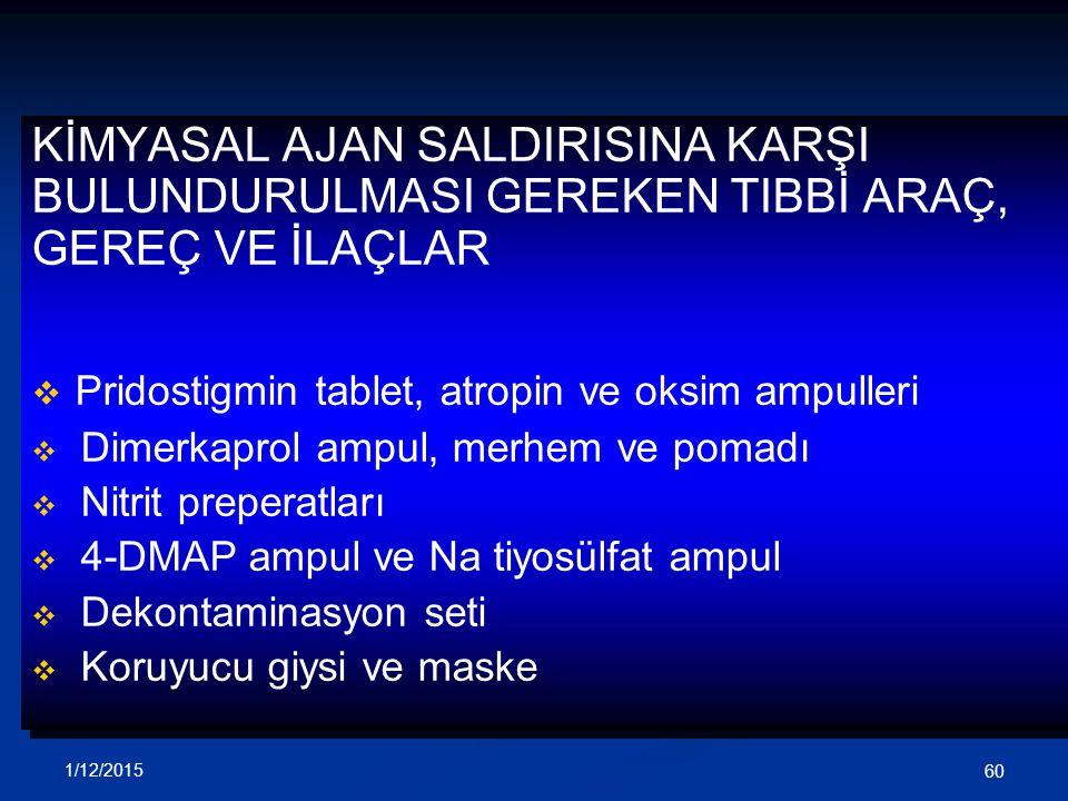 Pridostigmin tablet, atropin ve oksim ampulleri