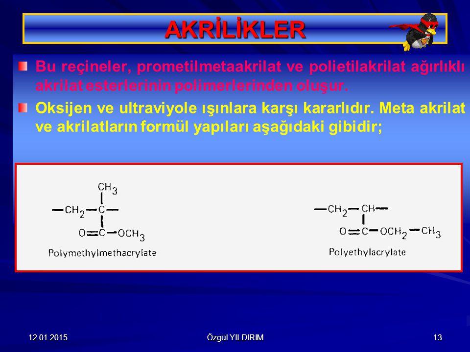 AKRİLİKLER Bu reçineler, prometilmetaakrilat ve polietilakrilat ağırlıklı akrilat esterlerinin polimerlerinden oluşur.