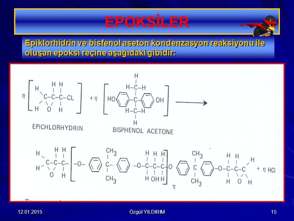 EPOKSİLER Epiklorhidrin ve bisfenol aseton kondenzasyon reaksiyonu ile oluşan epoksi reçine aşağıdaki gibidir: