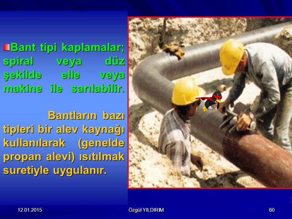Bant tipi kaplamalar; spiral veya düz şekilde elle veya makine ile sarılabilir. Bantların bazı tipleri bir alev kaynağı kullanılarak (genelde propan alevi) ısıtılmak suretiyle uygulanır.