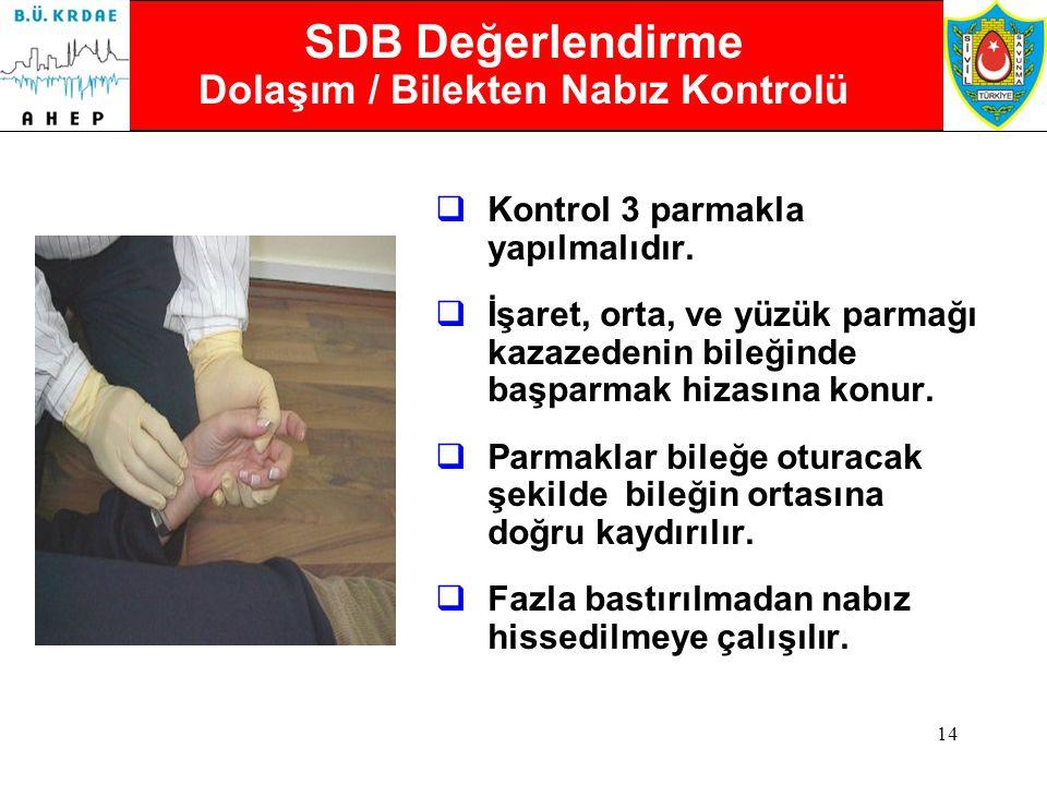 SDB Değerlendirme Dolaşım / Bilekten Nabız Kontrolü