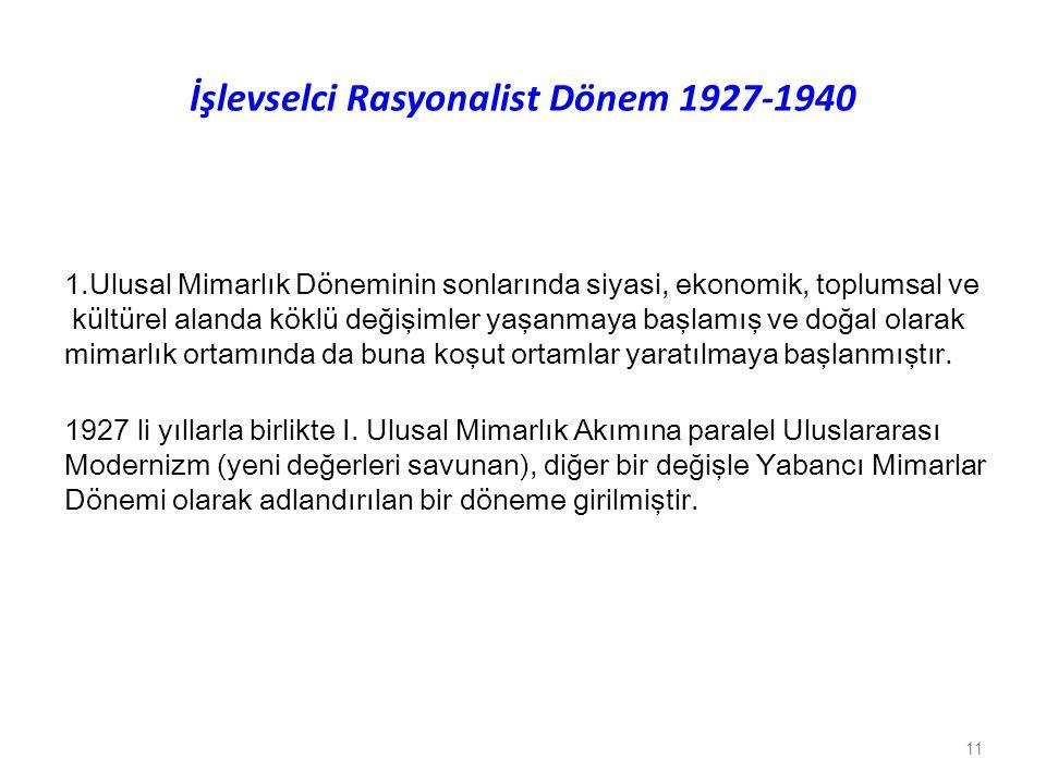 İşlevselci Rasyonalist Dönem 1927-1940
