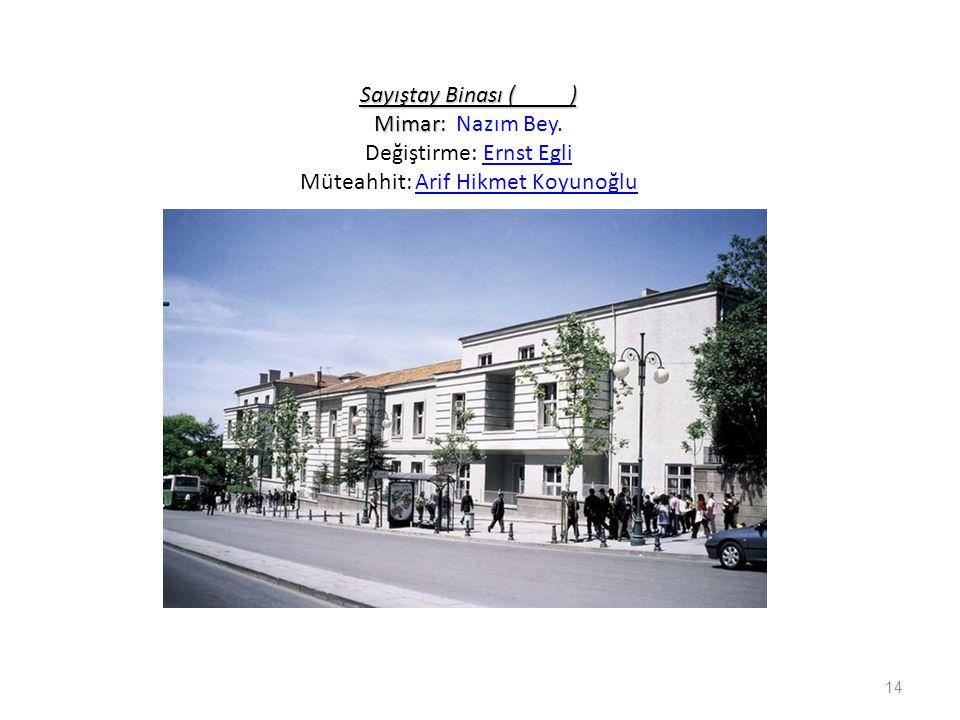 Sayıştay Binası ( ) Mimar: Nazım Bey