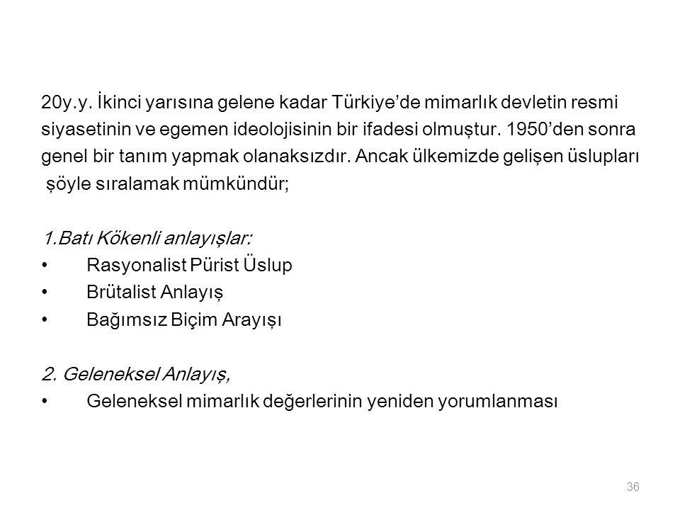 20y.y. İkinci yarısına gelene kadar Türkiye'de mimarlık devletin resmi