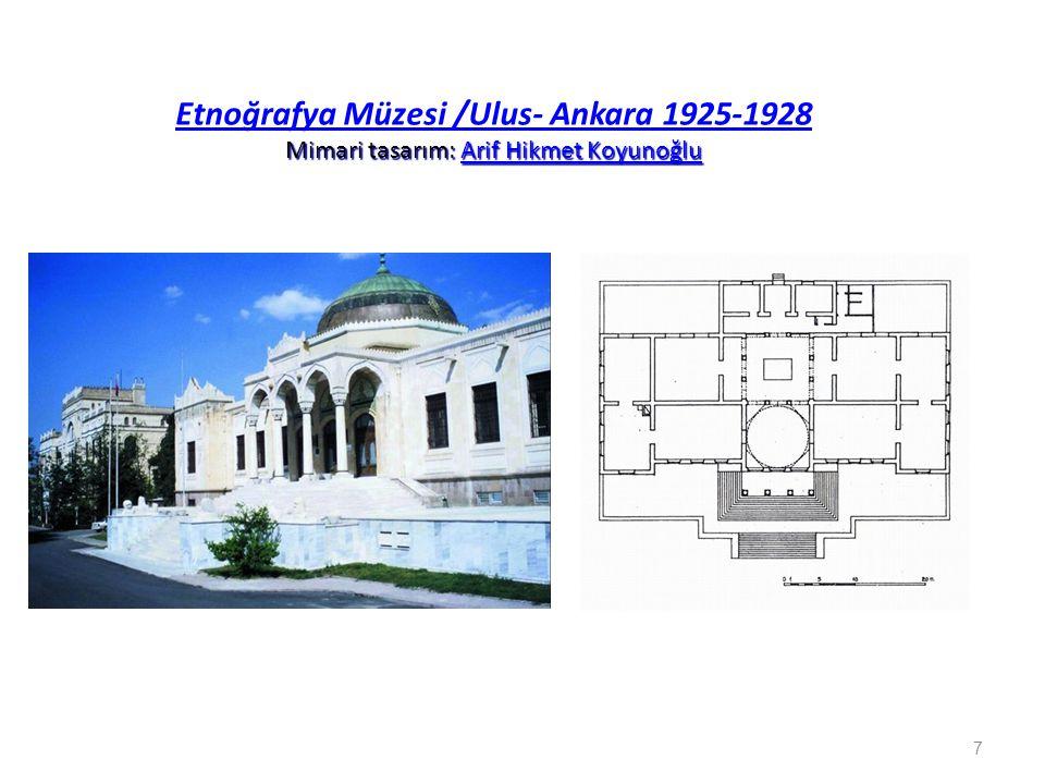 Etnoğrafya Müzesi /Ulus- Ankara 1925-1928 Mimari tasarım: Arif Hikmet Koyunoğlu