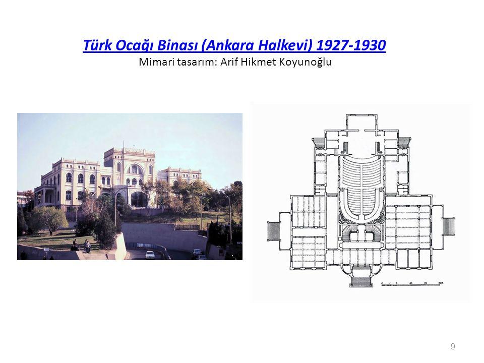 Türk Ocağı Binası (Ankara Halkevi) 1927-1930 Mimari tasarım: Arif Hikmet Koyunoğlu