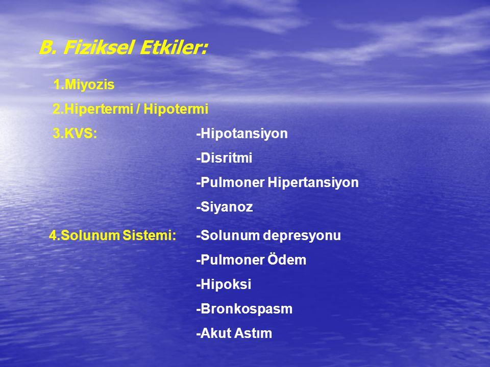 B. Fiziksel Etkiler: 1.Miyozis 2.Hipertermi / Hipotermi