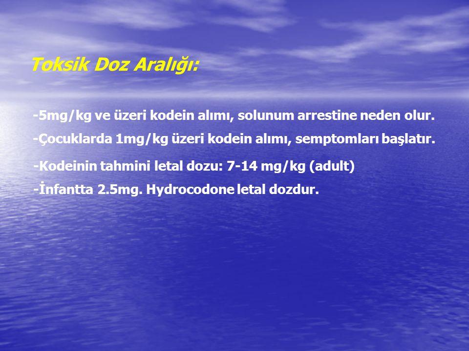 Toksik Doz Aralığı: -5mg/kg ve üzeri kodein alımı, solunum arrestine neden olur. -Çocuklarda 1mg/kg üzeri kodein alımı, semptomları başlatır.