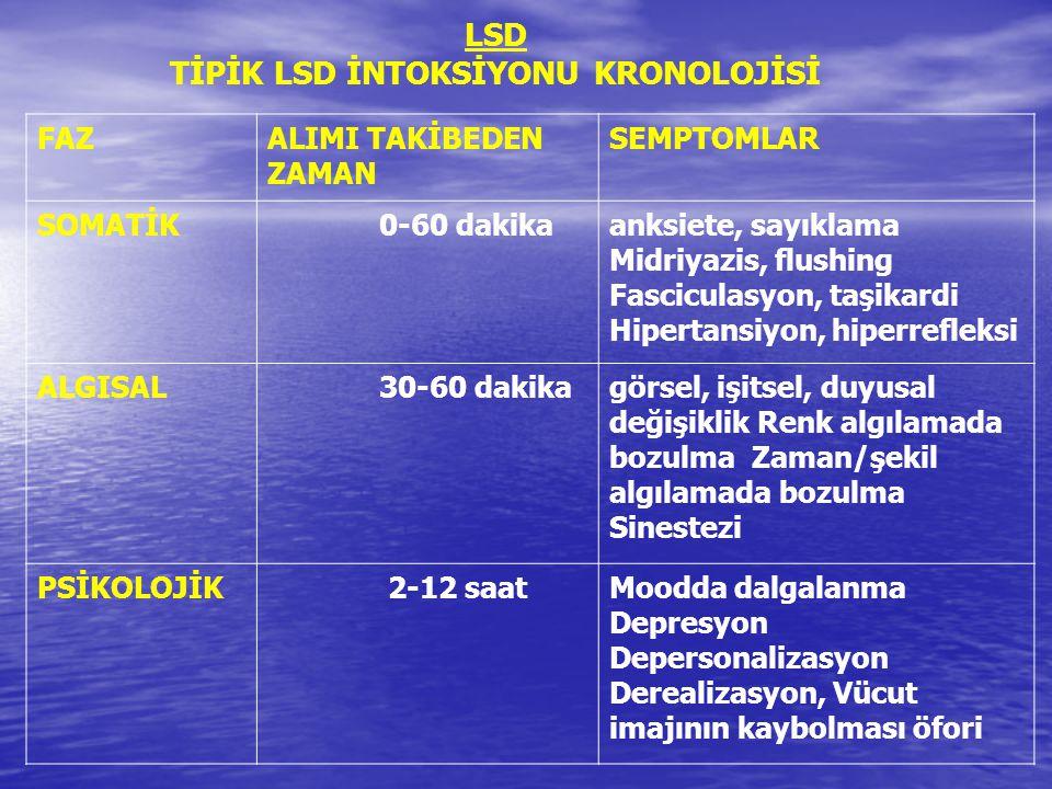 TİPİK LSD İNTOKSİYONU KRONOLOJİSİ